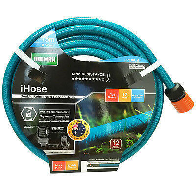 "NEW HOLMAN 15M Flexible Garden Water Hose 12MM - 1/2""  9 /10 KINK-FREE"