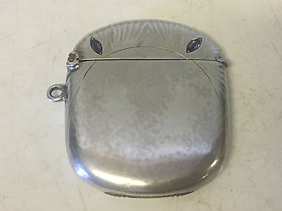 Antique European 830 Silver Match Safe w/ 2 Stones Inset as Eyes