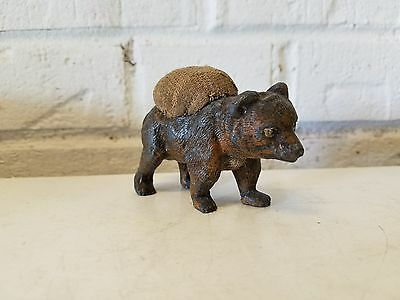 Antique Cold Painted Metal Bear Cub Pin Cushion Possibly Austrian