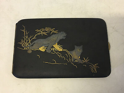 Vintage Possibly Antique Japanese Signed Damascene Metal Cigarette Case w Tigers