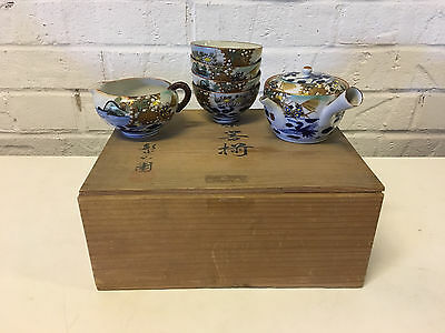 Vtg Possibly Antique Japanese Signed Porcelain 6 Piece Sake / Tea Set w Wood Box