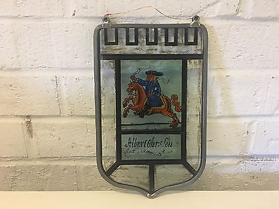 Possibly Vintage Decorative Hanging Stain Glass Window w/ Man on Horse
