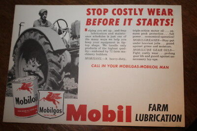 Mobil Oil Farm Lubrication advertisement, 7''X 5'', other side has a cartoon