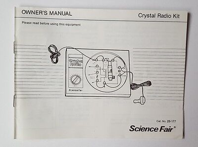 Vintage Science Fair Crystal Radio Kit Owner's Manual - Radio Shack