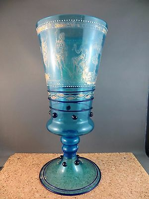 "Antique Blue Glass Vase Gold Gilt Roman Greece Scenes 11"" tall"