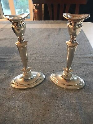 """Great Pair 8.5"""" Silver Plate Candlestcks"""