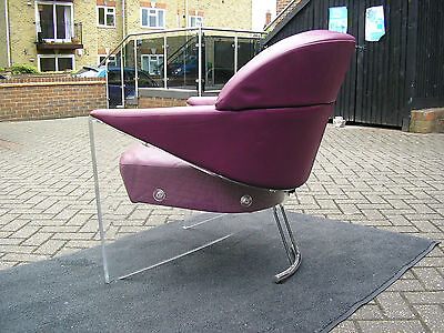HIGH END DESIGNER JORI  20th CENTURY  DANISH LUCITE,LEATHER AND CHROME  CHAIR