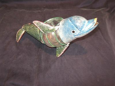 * L@@K * Painted Metal & Glass DOLPHIN Votive Candle Holder * Nice Seaside Decor