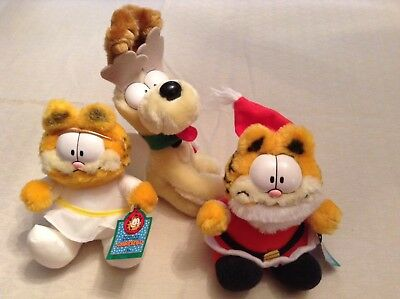 Vintage McDonald's Happy Meal - Christmas Garfield Odie Plush Toys (1990)