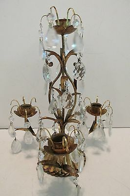 Vintage Italian Gilt Metal TOLE CANDLE HOLDER CENTERPIECE Teardrop Prisms