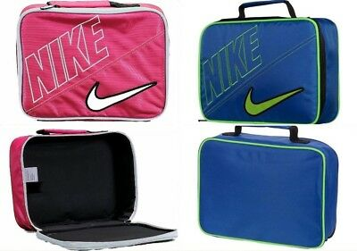 Nike Kid's Insulated Lunch Box Tote Bag Blue or Pink One Size Swoosh Logo School