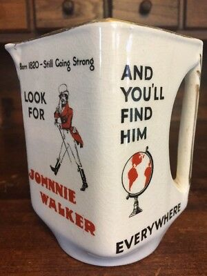 Vtg Red Label Johnnie Walker Scotch Whisky Water Pitcher Pub Jug Wade England