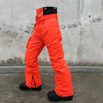 Men Ski Snowboard Waterproof Fluorescent Orange Pants Trousers S M L XL XXL