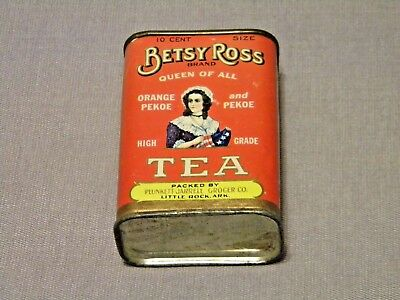 Vintage Betsy Ross Tea Cardboard & Tin Great Condition 10 Cent Size NO RESERVE