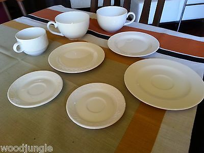 8 White Villeroy & Boch  Cafe Latte Cups Coffee Saucers Plates Wonderful World