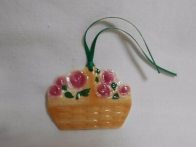Lot Of 10 Ceramic-Basket Tie On With Ribbon--Pink Rose Flowers In Basket.    NEW