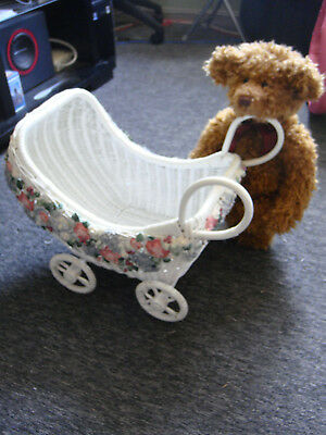 """Vintage Wicker & Ceramic Doll Carriage With 18"""" Russ Teddy Bear"""