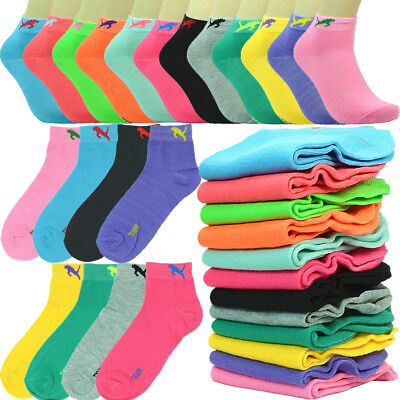 6-12 Pairs Fashion Cotton Women Girls Ankle School Casual Socks Size 9-11 cat c