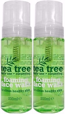 2 X TEA TREE FOAMING FACE WASH 200ml FOR HEALTHY CLEAN SKIN - FRESH DAILY USE