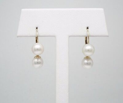 14k Solid or Blanc Leverback; véritable AAA CULTURED PEARL Dangle Boucles d/'oreilles TPJ