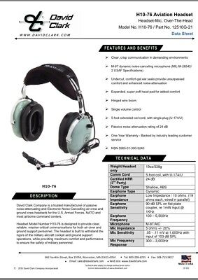 David Clark Headset H10-76 Aviation Military Headset Noise Cancelling.