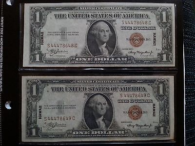 2 Consecutive Serial# 1935 A Hawaii $1 Notes Rare!