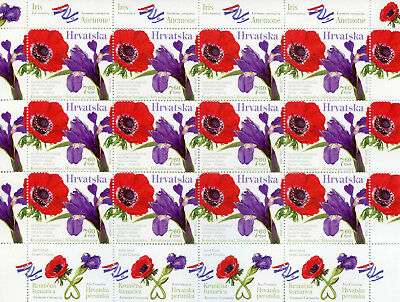 Croatia 2017 MNH Flowers Iris Anemone JIS Joint Issue Israel 12v MS Flora Stamps