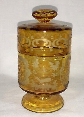 Antique Bohemian Amber Glass Cut To Clear Covered Powder Jar
