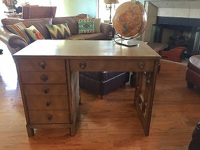 Vintage Modern Mid Century Landstrom Furniture Mahogany Desk Copper Hardware