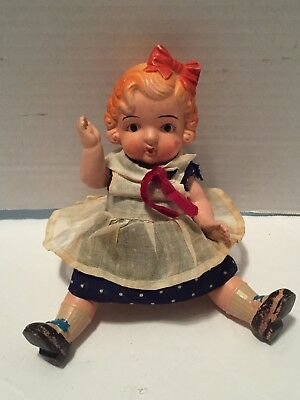 """Vtg Doll Jointed Marked Occupied Japan Bisque? All Original Clothes 7.5"""" 1940's"""