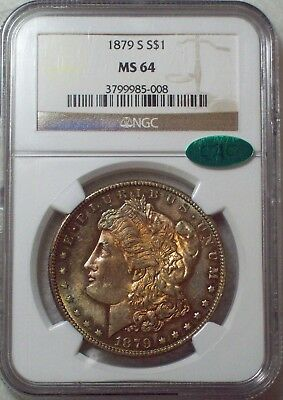 1879 S NGC MS-64 SILVER Morgan Dollar CAC STICKER - RUSTY RAINBOW RED OBVERSE $1