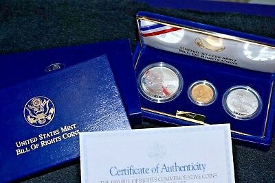 1993 BILL OF RIGHTS 3-Coin PROOF Commemorative GOLD & SILVER Set!> w/Box & COA!!