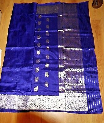 Purple Saree with Metallic Silver Embroidery (Silk Effect) - New