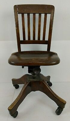 Antique Vintage Wood Lawyers Bankers Library Doctors Swivel Office Chair