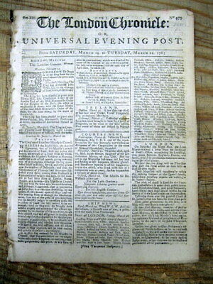 1763 newspaper GREAT BRITAIN GAINS FLORIDA from SPAIN after French & Indian War