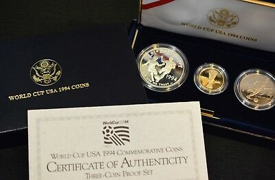 1994 WORLD CUP PROOF 3-Coin Set **SILVER & GOLD** $5, $1, 50C! >>> w/Box & COA!!