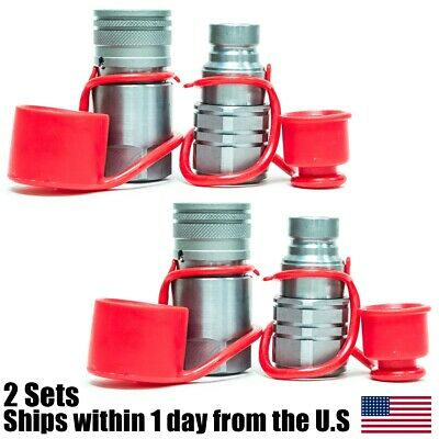 """3/4"""" NPT Skid Steer Bobcat Flat Face Hydraulic Quick Connect Coupler 2 Sets"""