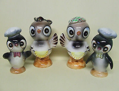 Vintage Chick/Birds w/Hats & Bows Salt & Pepper Shakers (Japan)