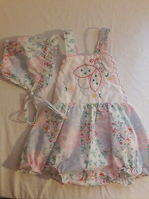 Vintage Baby Girl ladybug bonnet Romper Sunsuit Childrens Clothes Outfit