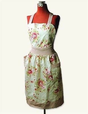 Victorian Trading Co Cabbage Pink & Red Roses Apron Free Ship NIB
