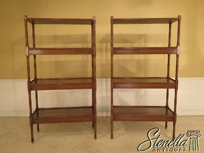 28817E/18E: Pair Custom Made William IV Walnut 4 Tier Etagere Book Shelves