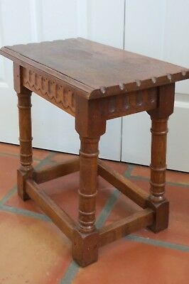ANTIQUE ENGLISH OAK CARVED JOINT STOOL PUB Bench Footstool or End Table