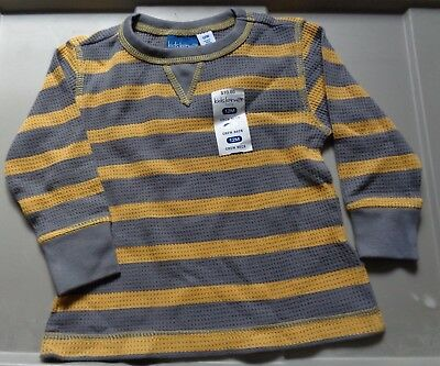 Infants/toddlers long sleeve thermal tee shirt, grey & gold stripes, size 12 mos