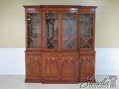 23691E: English Yew Wood 4 Door Breakfront Bookcase Cabinet