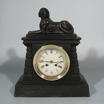 "Antique French Cast Iron Empire Early 19th cent. Clock, ""Retour d'Egypte"" Sphinx"