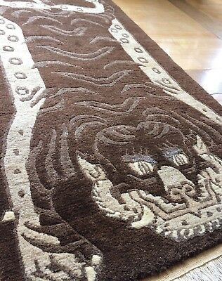 "Vintage Tiger 3'1""x 6' Tibetan Soft Wool Hand Knotted Brown Rug"