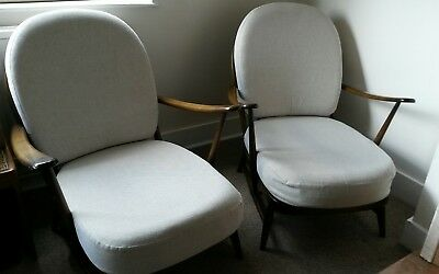 Two vintage Ercol armchairs - Windsor 203 Old Colonial Easy Chairs incl cushions