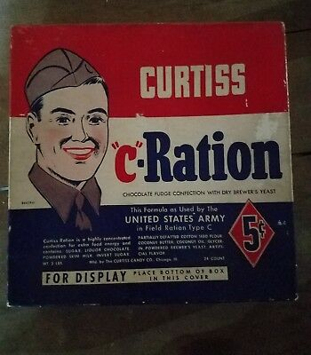 Extemely RARE Curtiss Pre War Antique Candy Box C-Ration Type C Military WW1 WW2