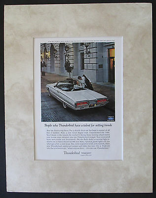1964 Ford Thunderbird Convertible Original AD Matted and Ready to Frame