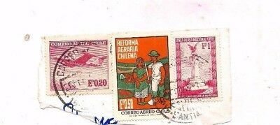 3 CHILE stamps on paper.